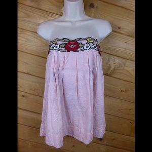 Snak Anthropologie 0 Floral Strapless Tunic Lined